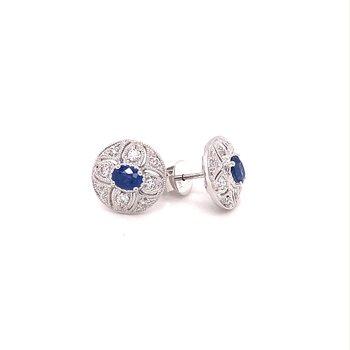 Round Vintage Inspired Diamond & Sapphire Stud Earrings