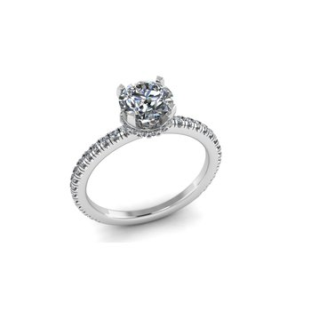 Diamond Engagement Ring With Diamond Collar