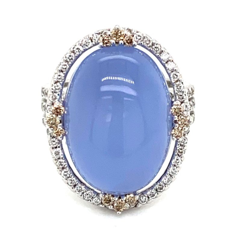 Murphy Pitard Signature Collection Chalcedony Diamond Halo Fashion Ring