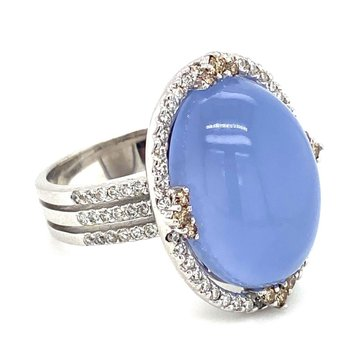 Chalcedony Diamond Halo Fashion Ring