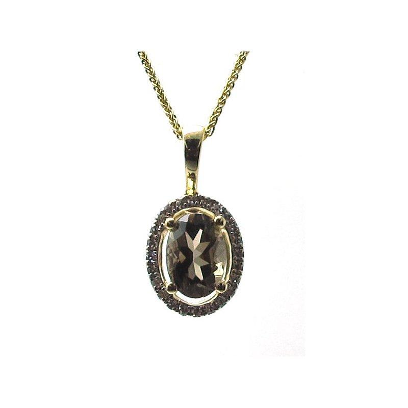 Murphy Pitard Signature Collection Smokey Quartz & Diamond Halo Pendant Necklace