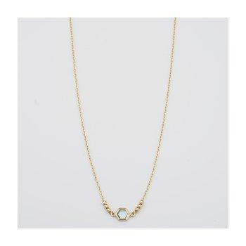 Hexagon Blue Topaz Bezel Necklace