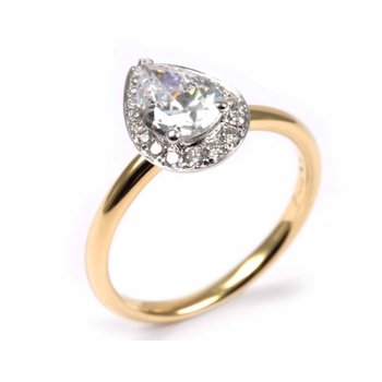 Diamond Pear Halo Engagement Ring
