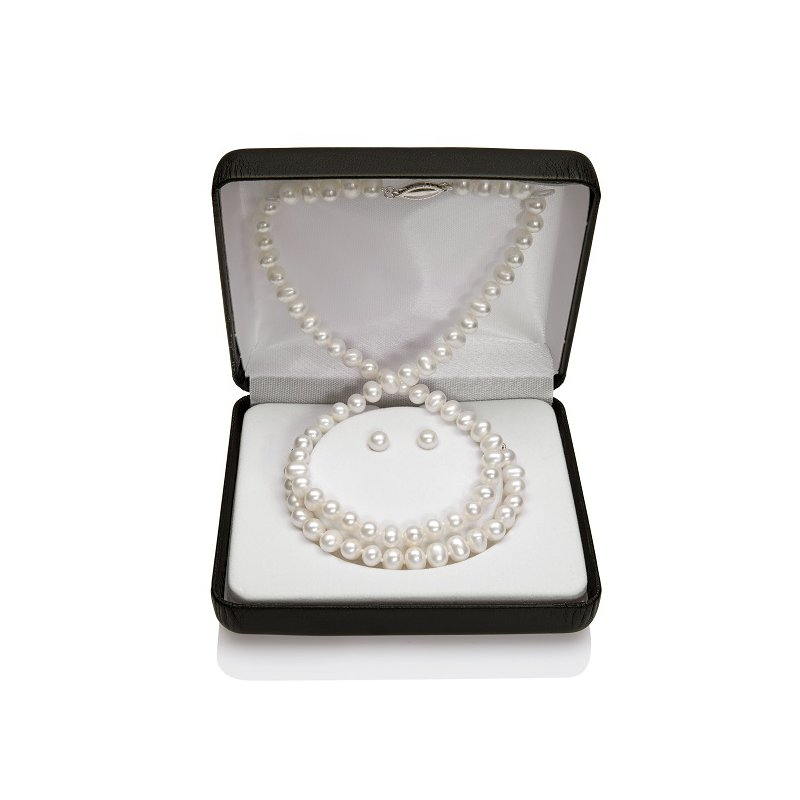 Murphy Pitard Signature Collection Freshwater Pearl Set Containing a Strand Necklace Stud Earrings and a Strand Baby Bracelet
