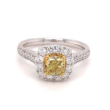 Diamond Halo & Pavé Diamond Fancy Yellow Diamond Ring