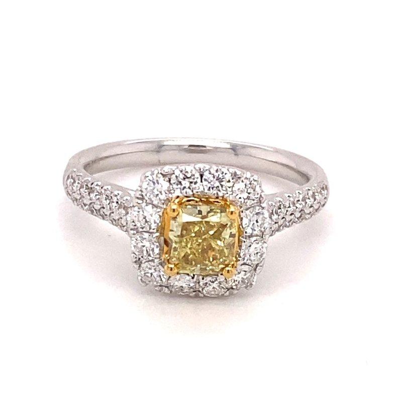 Murphy Pitard Signature Collection Diamond Halo & Pavé Diamond Fancy Yellow Diamond Ring