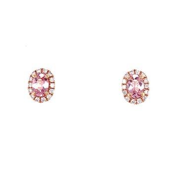 Oval Morganite Diamond Halo Stud Earrings