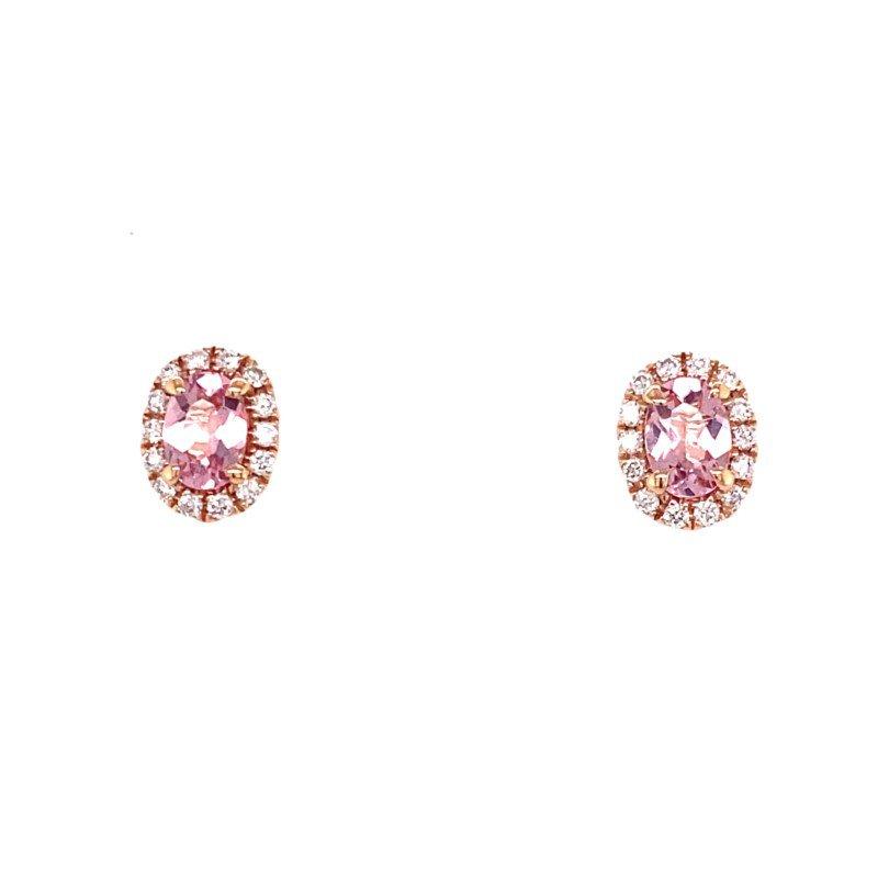 Murphy Pitard Signature Collection Oval Morganite Diamond Halo Stud Earrings