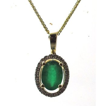 Emerald & Diamond Halo Pendant Necklace