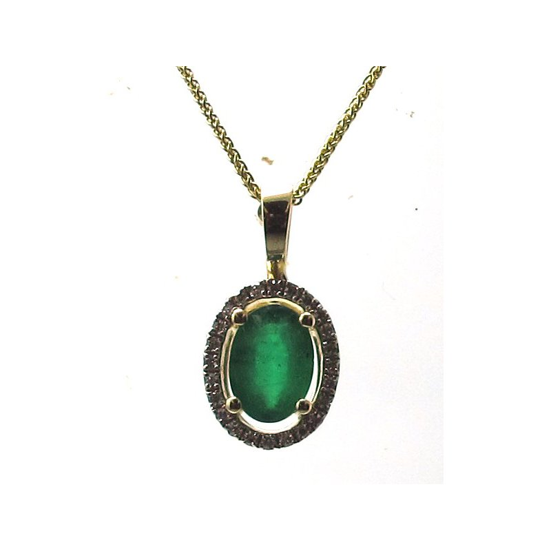 Murphy Pitard Signature Collection Emerald & Diamond Halo Pendant Necklace