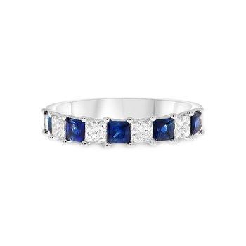 Princess Cut Sapphire & Diamond Band