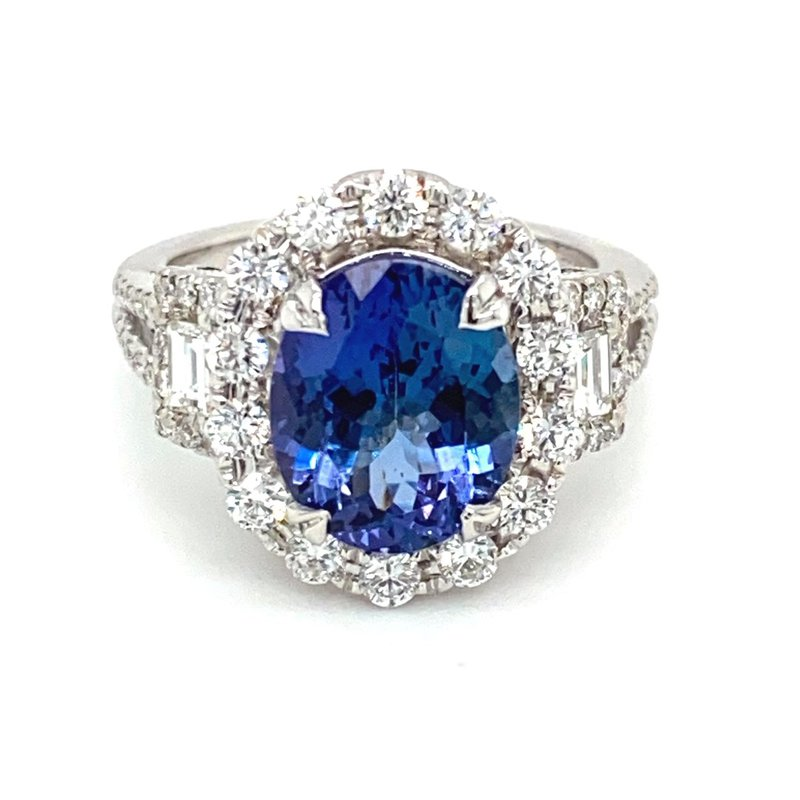 Murphy Pitard Signature Collection Oval Tanzanite & Diamond Milgrain Accented Ring