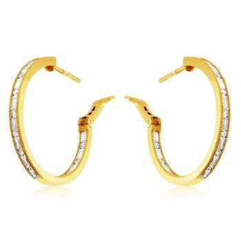 Round Diamond & Baguette Diamond 1 1/5 Carats Medium Hoop Earrings