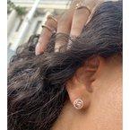 Murphy Pitard Signature Collection Morganite Diamond Halo Stud Earrings