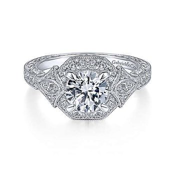 Art Deco Round Halo Diamond Engagement Ring