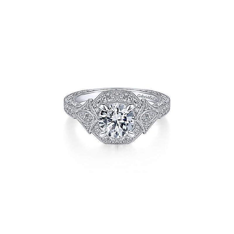 Gabriel & Co. New York Art Deco Round Halo Diamond Engagement Ring
