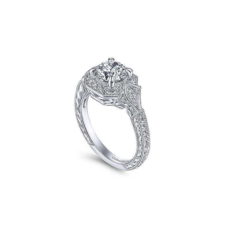 Gabriel & Co. New York Art Deco Round Halo Diamond Engagement Ring