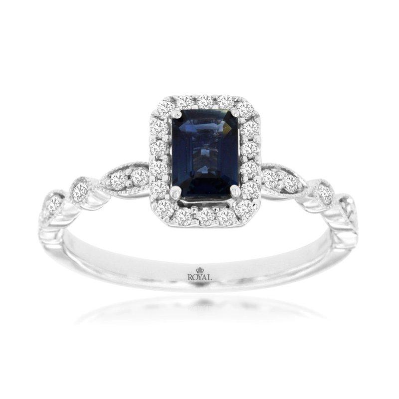 Murphy Pitard Signature Collection Sapphire Diamond Halo Ring