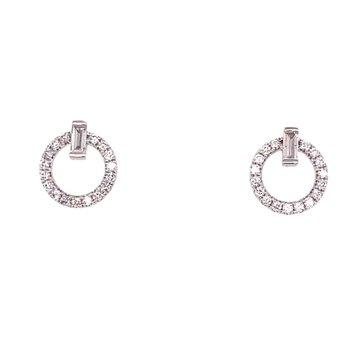 Round & Baguette Circle Stud Earrings