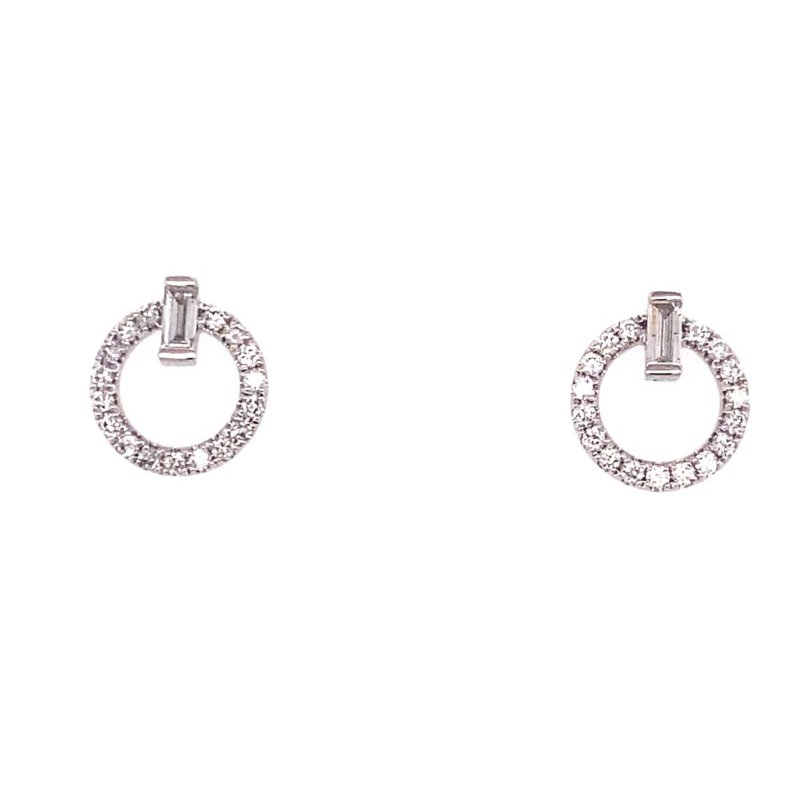 Murphy Pitard Signature Collection Round & Baguette Circle Stud Earrings