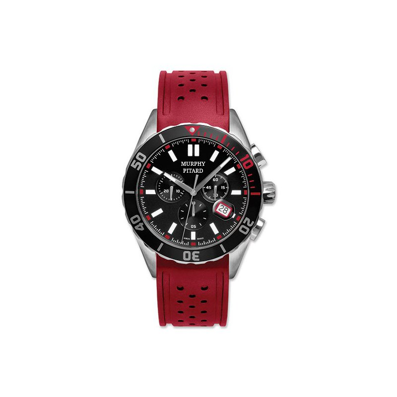 Murphy Pitard Signature Collection Murphy Pitard Chronograph Watch With Red Strap