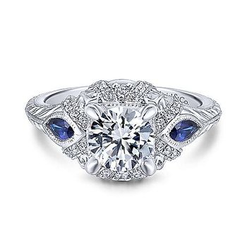 Vintage Inspired Lexington Round Sapphire Accented Diamond Engagement Ring