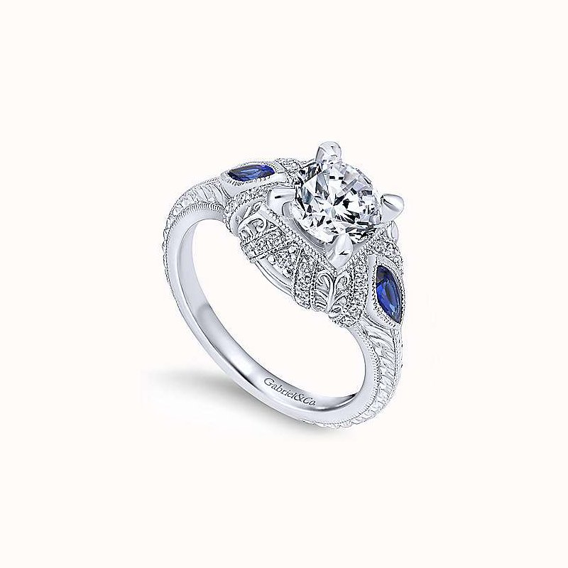Gabriel & Co. New York Vintage Inspired Lexington Round Sapphire Accented Diamond Engagement Ring