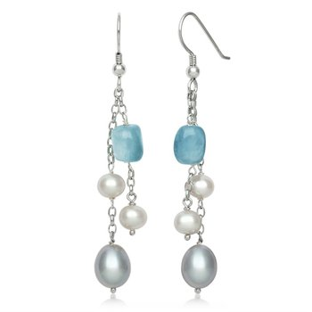 Aquamarine and Pearl Dangle Earrings