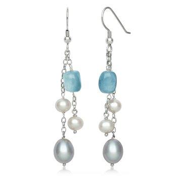 Aquamarine and Pearl Dangle Earrings