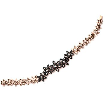 Black Diamond Flower Link Bracelet