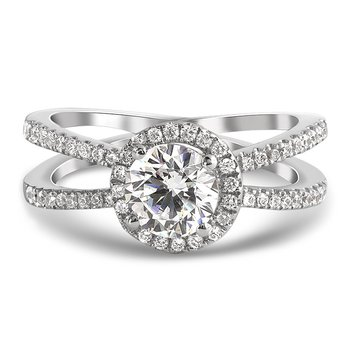 Contemporary Diamond Halo Split Band Engagement Ring