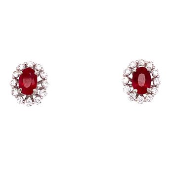 Oval Ruby Studs in Diamond Earring Jackets