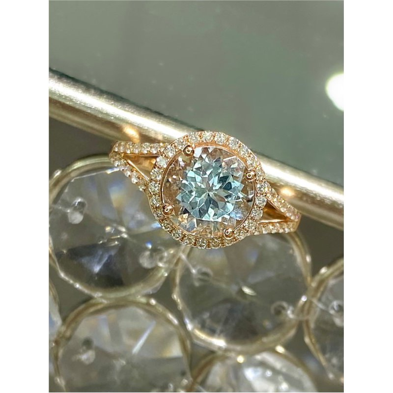 Murphy Pitard Signature Collection Round Aquamarine Diamond Halo Fashion Ring