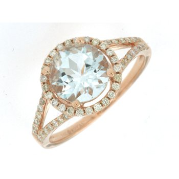Round Aquamarine Diamond Halo Fashion Ring