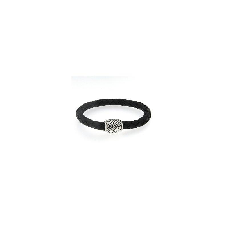 Samuel B. Sterling Leather Bracelet