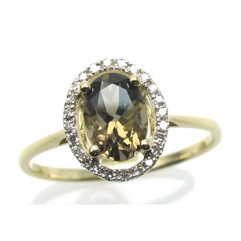 Smokey Quartz & Diamond Halo Ring