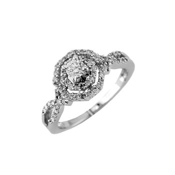 Diamond Halo Twist Engagement Ring