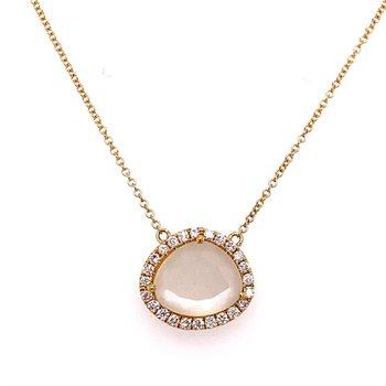 Moonstone Diamond Halo Necklace