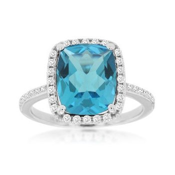 Blue Topaz & Diamond Halo Fashion Dinner Ring