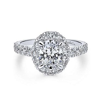 Sutton Oval Halo Diamond Engagement Ring