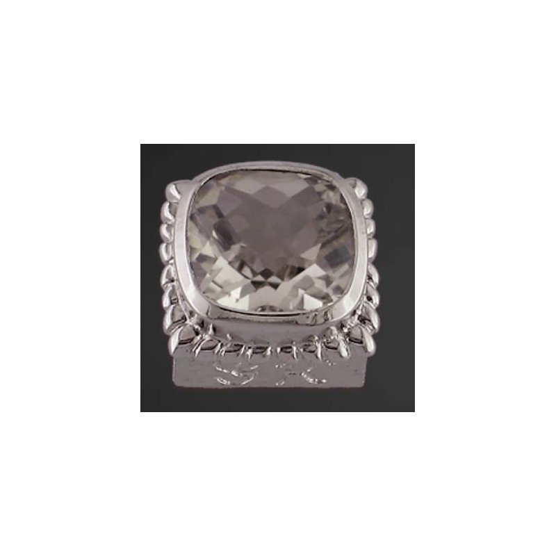 Goldman-Kolber Caerleon 8x8 White Topaz Cushion Bezel