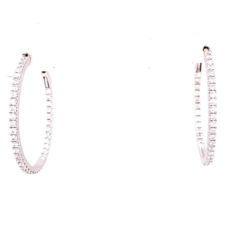 Murphy Pitard Signature Collection White Gold Diamond Hoop Earrings