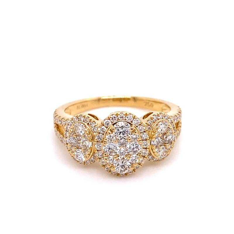 Murphy Pitard Signature Collection Diamond Cluster Oval Halo Split Band Ring