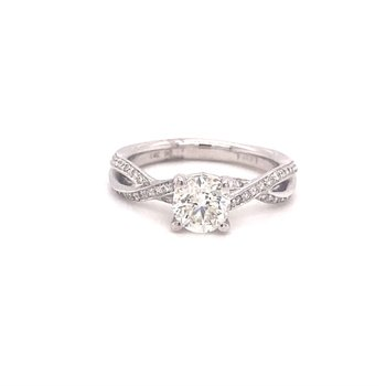 Round Diamond Engagement Ring With Twist Band Design
