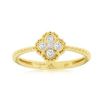 Diamond Cluster Milgrain Ring