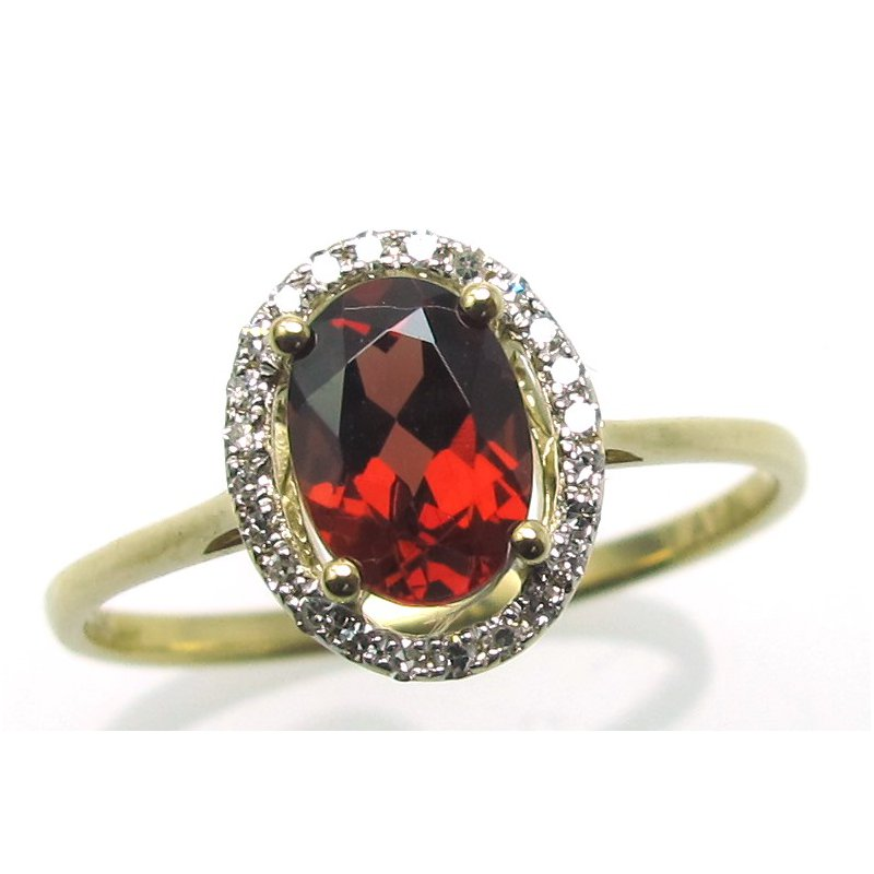 Murphy Pitard Signature Collection Garnet & Diamond Halo Ring