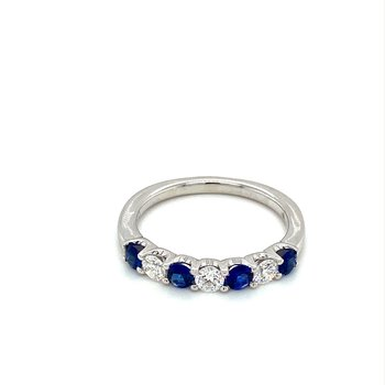 Sapphire & Diamond Stackable Band
