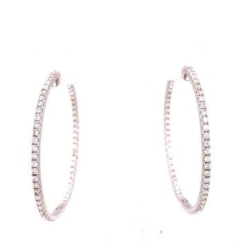 White Gold Large Diamond Hoop Earrings