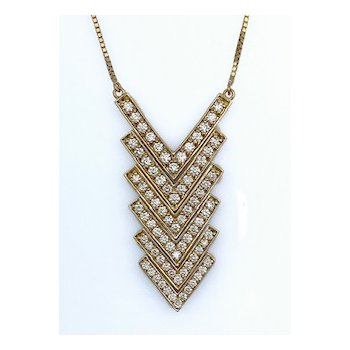 Six Piece Chevron Diamond Pendant
