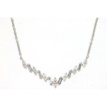 Diamond & Baguette Diamond V Bar Necklace